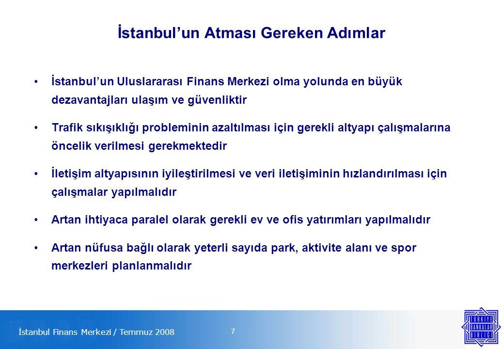 7 İstanbul'un Atması Gereken Adımlar İstanbul'un Uluslararası Finans Merkezi olma yolunda en büyük dezavantajları ulaşım ve güvenliktir Trafik sıkışıklığı probleminin azaltılması için gerekli altyapı çalışmalarına öncelik verilmesi gerekmektedir İletişim altyapısının iyileştirilmesi ve veri iletişiminin hızlandırılması için çalışmalar yapılmalıdır Artan ihtiyaca paralel olarak gerekli ev ve ofis yatırımları yapılmalıdır Artan nüfusa bağlı olarak yeterli sayıda park, aktivite alanı ve spor merkezleri planlanmalıdır İstanbul Finans Merkezi / Temmuz 2008