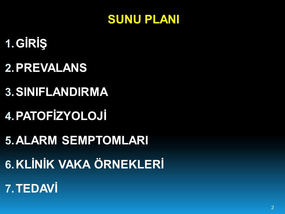 2 SUNU PLANI 1.GİRİŞ 2. PREVALANS 3. SINIFLANDIRMA 4.