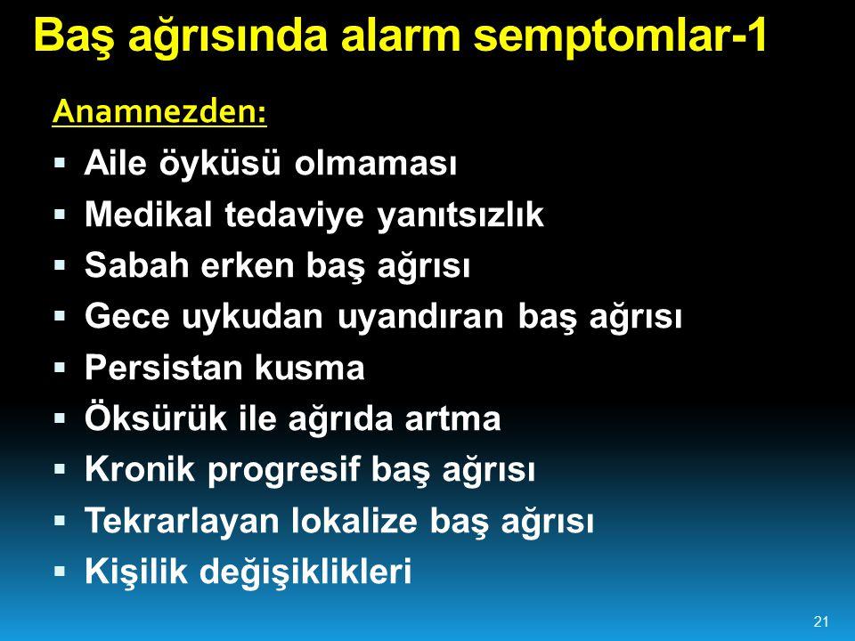 Baş ağrısında alarm semptomlar-1 Anamnezden:  Aile öyküsü olmaması  Medikal tedaviye yanıtsızlık  Sabah erken baş ağrısı  Gece uykudan uyandıran b