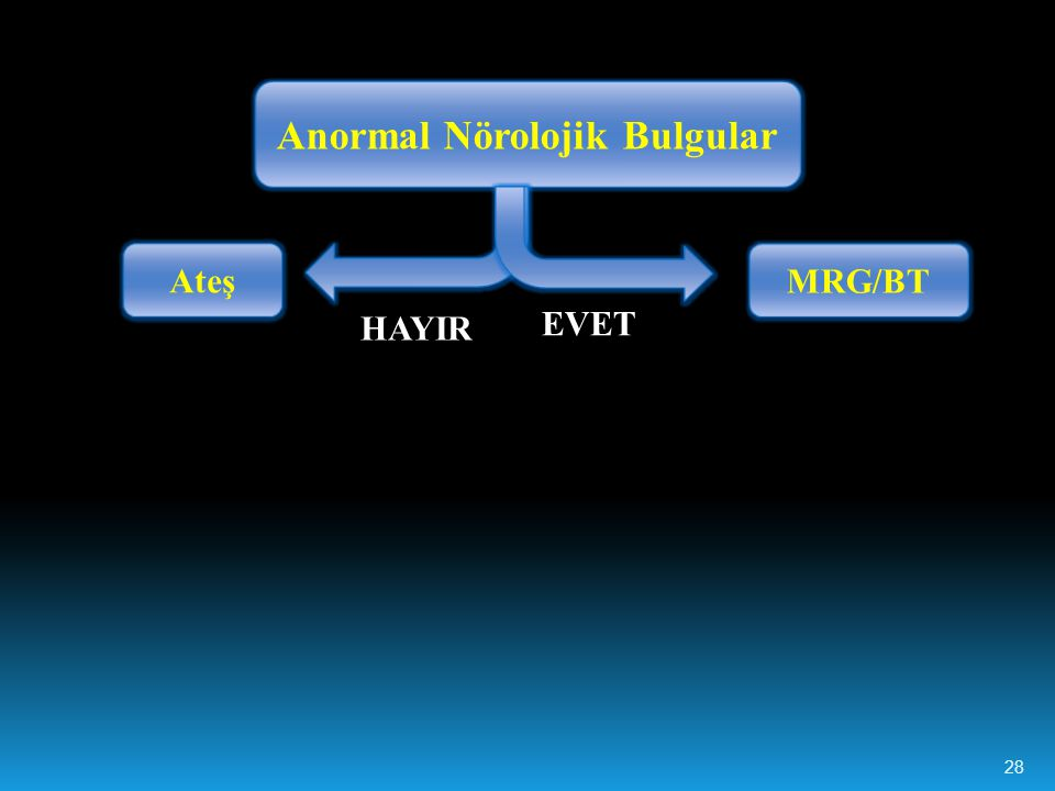 Anormal Nörolojik Bulgular EVET HAYIR MRG/BT Ateş 28