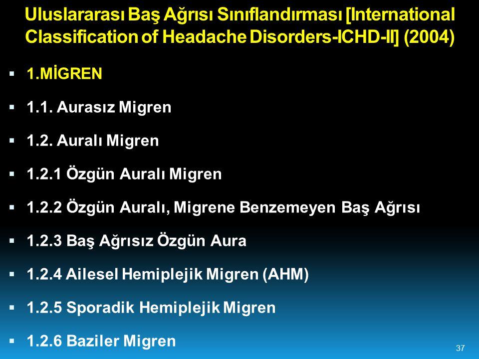 Uluslararası Baş Ağrısı Sınıflandırması [International Classification of Headache Disorders-ICHD-II] (2004)  1.MİGREN  1.1.