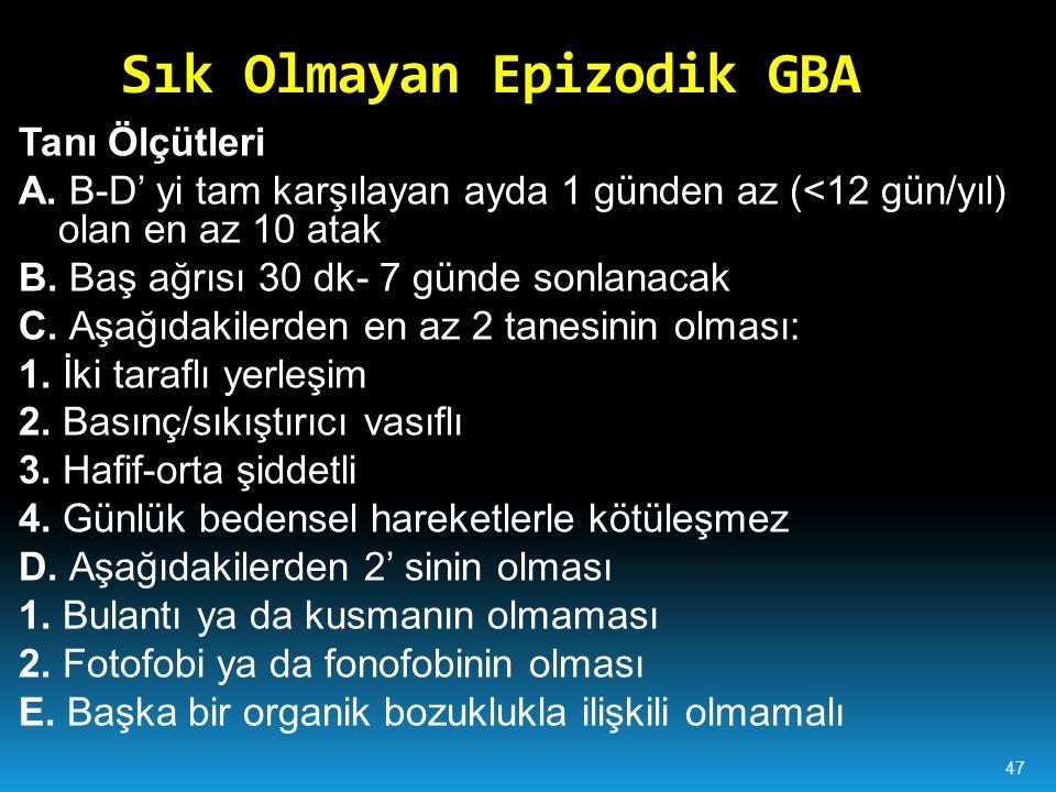 Sık Olmayan Epizodik GBA Tanı Ölçütleri A.