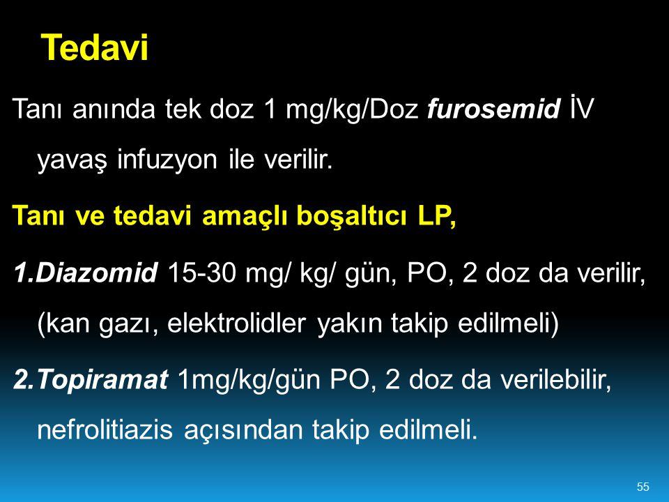 Tanı anında tek doz 1 mg/kg/Doz furosemid İV yavaş infuzyon ile verilir. Tanı ve tedavi amaçlı boşaltıcı LP, 1.Diazomid 15-30 mg/ kg/ gün, PO, 2 doz d