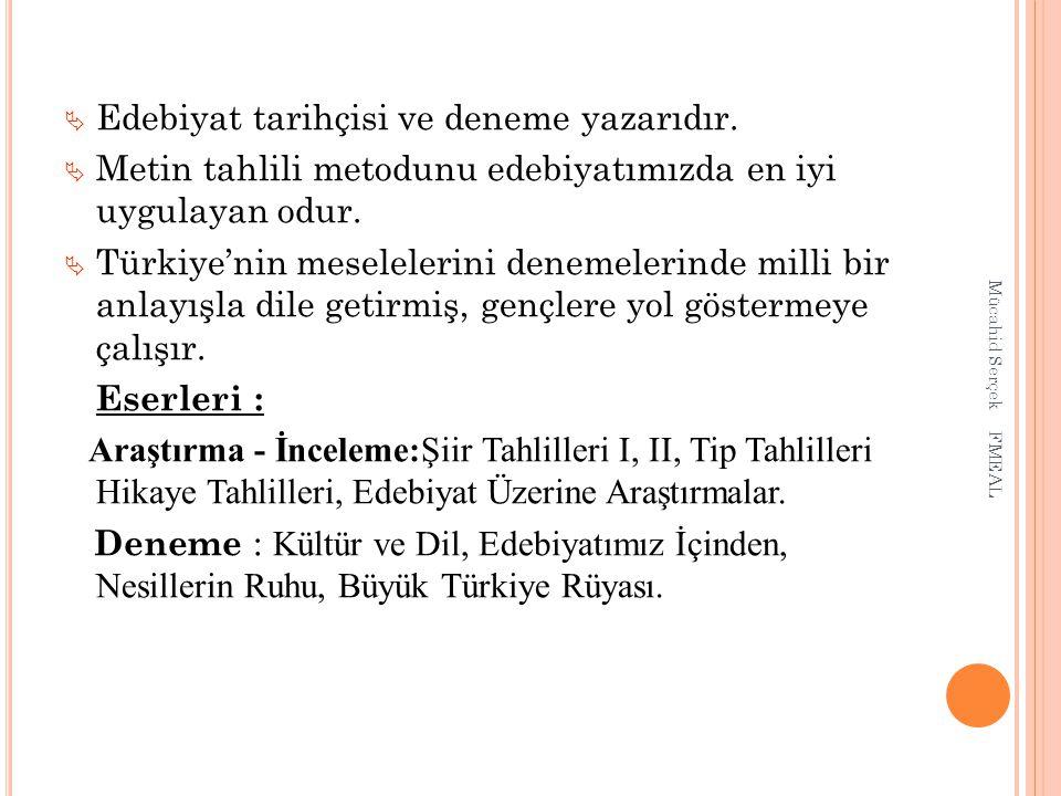  Edebiyat tarihçisi ve deneme yazarıdır.  Metin tahlili metodunu edebiyatımızda en iyi uygulayan odur.  Türkiye'nin meselelerini denemelerinde mill
