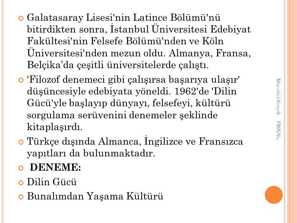 Galatasaray Lisesi'nin Latince Bölümü'nü bitirdikten sonra, İstanbul Üniversitesi Edebiyat Fakültesi'nin Felsefe Bölümü'nden ve Köln Üniversitesi'nden