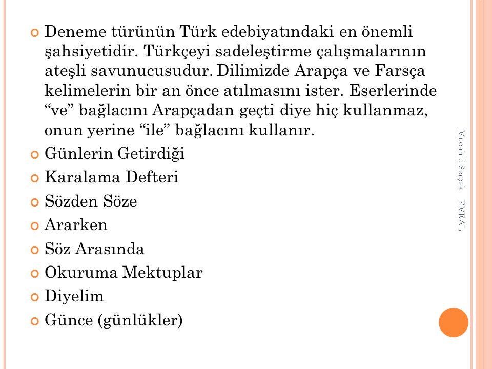 Deneme türünün Türk edebiyatındaki en önemli şahsiyetidir. Türkçeyi sadeleştirme çalışmalarının ateşli savunucusudur. Dilimizde Arapça ve Farsça kelim