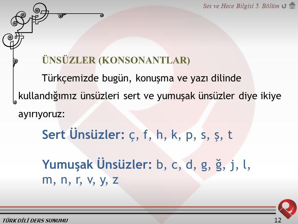 TÜRK DİLİ DERS SUNUMU Ses ve Hece Bilgisi 5. Bölüm 12 ÜNSÜZLER (KONSONANTLAR) Türkçemizde bugün, konuşma ve yazı dilinde kullandığımız ünsüzleri sert
