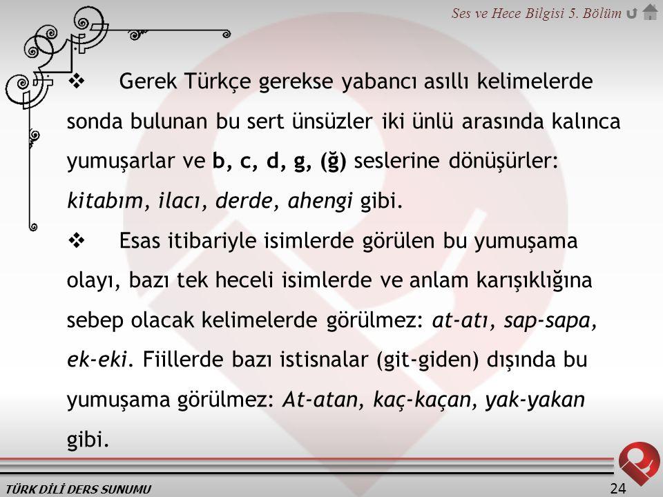TÜRK DİLİ DERS SUNUMU Ses ve Hece Bilgisi 5. Bölüm 24  Gerek Türkçe gerekse yabancı asıllı kelimelerde sonda bulunan bu sert ünsüzler iki ünlü arasın