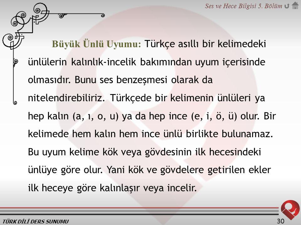 TÜRK DİLİ DERS SUNUMU Ses ve Hece Bilgisi 5. Bölüm 30 Büyük Ünlü Uyumu: Türkçe asıllı bir kelimedeki ünlülerin kalınlık-incelik bakımından uyum içeris