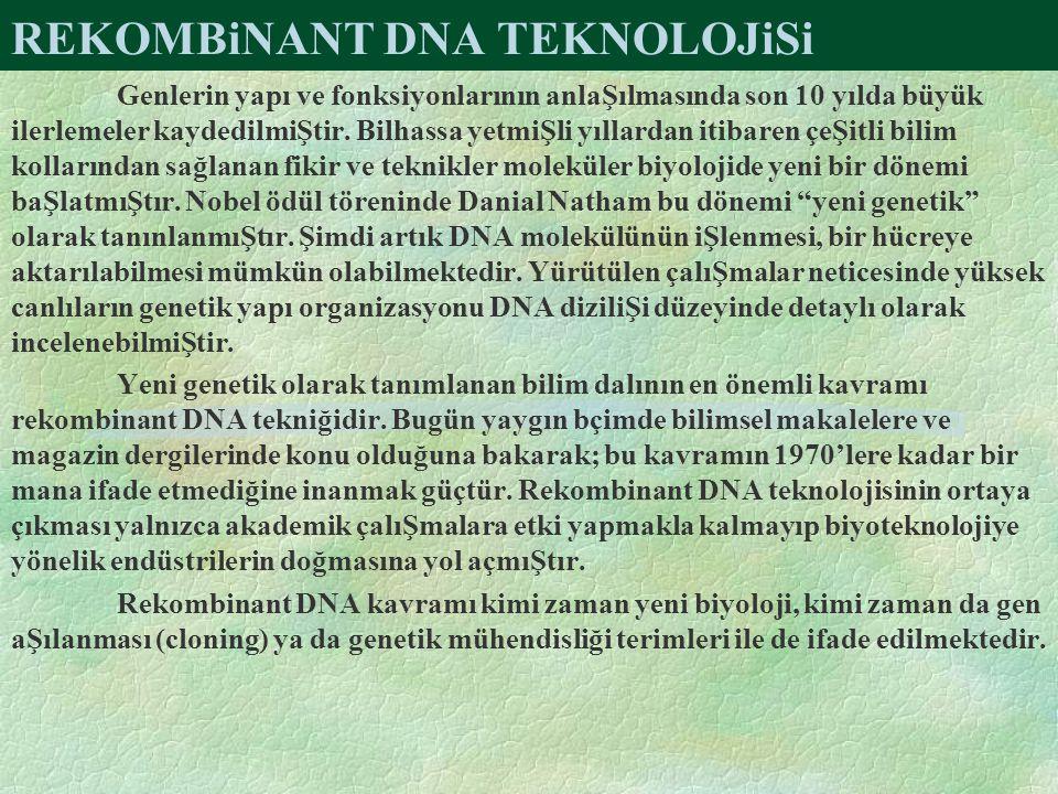 REKOMBiNANT DNA TEKNOLOJiSi Genlerin yapı ve fonksiyonlarının anlaŞılmasında son 10 yılda büyük ilerlemeler kaydedilmiŞtir.