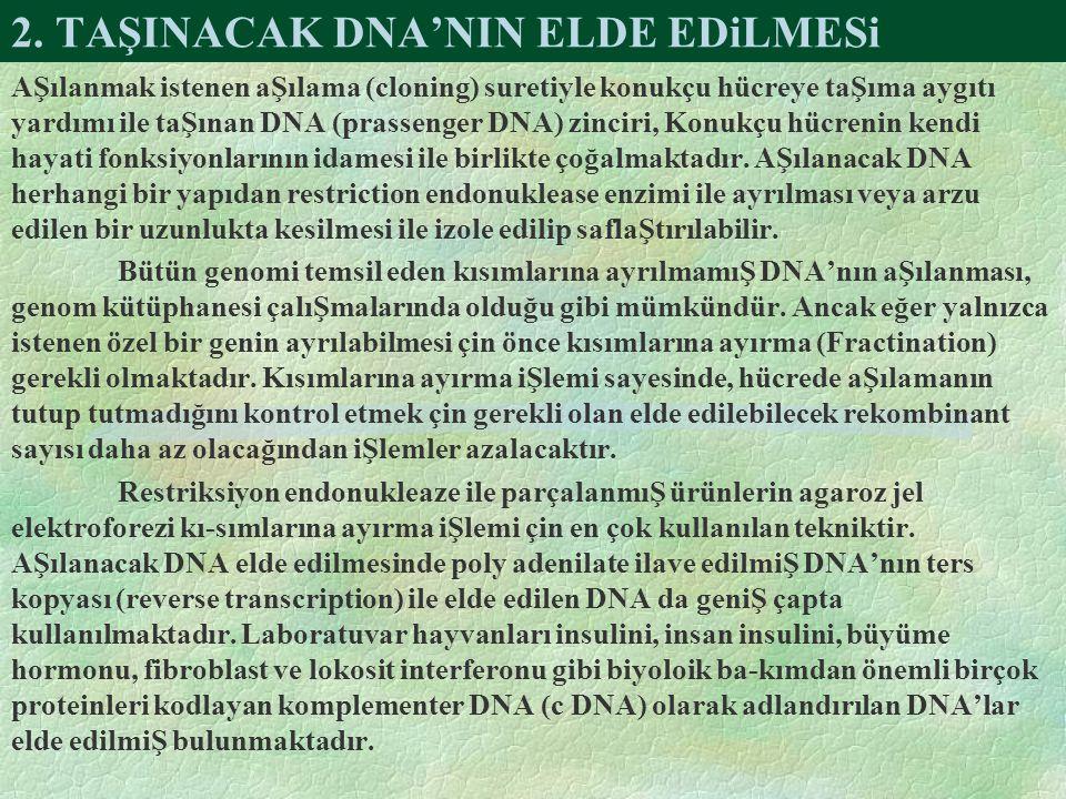 2. TAŞINACAK DNA'NIN ELDE EDiLMESi AŞılanmak istenen aŞılama (cloning) suretiyle konukçu hücreye taŞıma aygıtı yardımı ile taŞınan DNA (prassenger DNA
