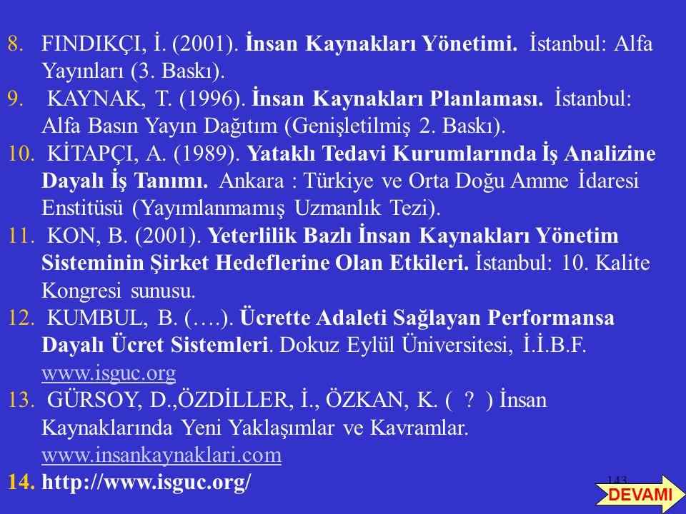 143 8.FINDIKÇI, İ. (2001). İnsan Kaynakları Yönetimi. İstanbul: Alfa Yayınları (3. Baskı). 9. KAYNAK, T. (1996). İnsan Kaynakları Planlaması. İstanbul