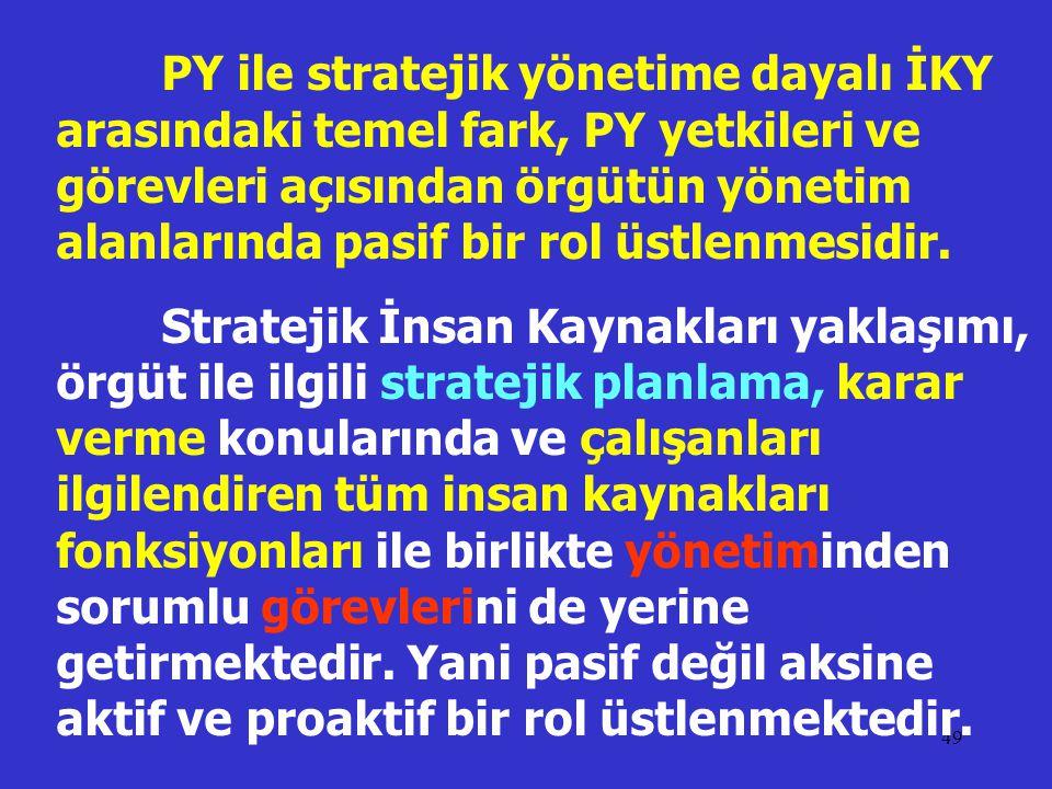 49 PY ile stratejik yönetime dayalı İKY arasındaki temel fark, PY yetkileri ve görevleri açısından örgütün yönetim alanlarında pasif bir rol üstlenmes