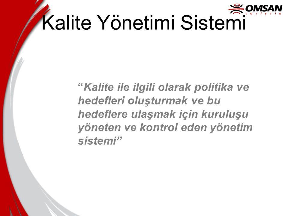 """Kalite Yönetimi Sistemi """"Kalite ile ilgili olarak politika ve hedefleri oluşturmak ve bu hedeflere ulaşmak için kuruluşu yöneten ve kontrol eden yönet"""