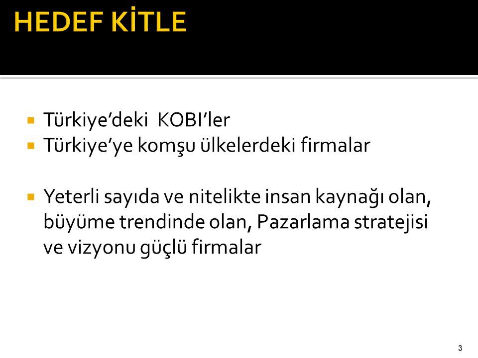  Türkiye'deki KOBI'ler  Türkiye'ye komşu ülkelerdeki firmalar  Yeterli sayıda ve nitelikte insan kaynağı olan, büyüme trendinde olan, Pazarlama str