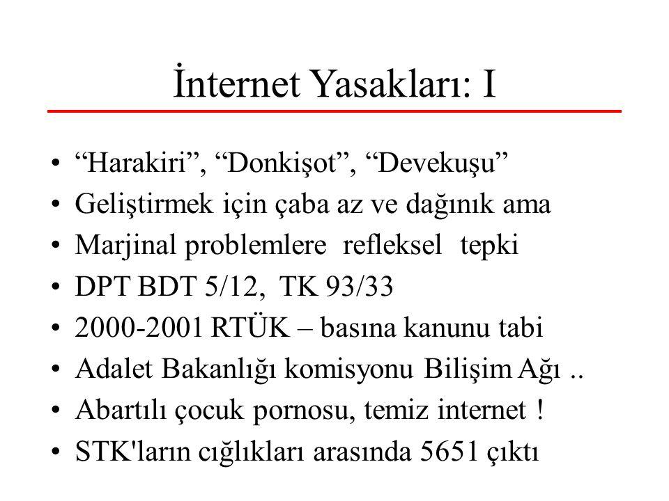 İnternet Yasakları: I Harakiri , Donkişot , Devekuşu Geliştirmek için çaba az ve dağınık ama Marjinal problemlere refleksel tepki DPT BDT 5/12, TK 93/33 2000-2001 RTÜK – basına kanunu tabi Adalet Bakanlığı komisyonu Bilişim Ağı..