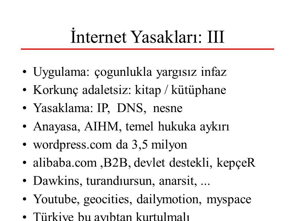İnternet Yasakları: III Uygulama: çogunlukla yargısız infaz Korkunç adaletsiz: kitap / kütüphane Yasaklama: IP, DNS, nesne Anayasa, AIHM, temel hukuka