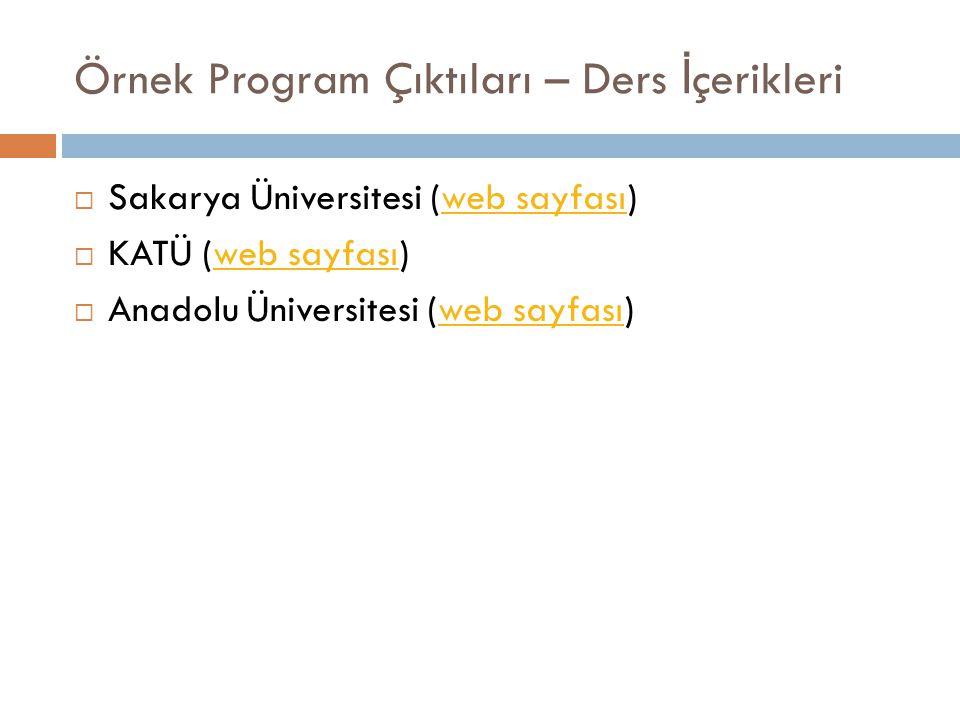 Örnek Program Çıktıları – Ders İ çerikleri  Sakarya Üniversitesi (web sayfası)web sayfası  KATÜ (web sayfası)web sayfası  Anadolu Üniversitesi (web sayfası)web sayfası