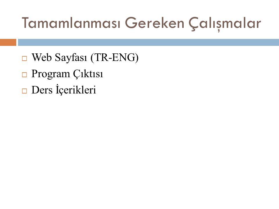 Tamamlanması Gereken Çalışmalar  Web Sayfası (TR-ENG)  Program Çıktısı  Ders İçerikleri