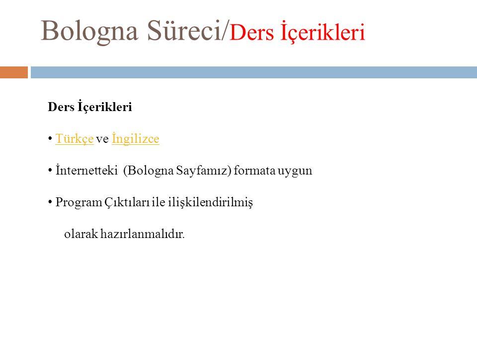 Bologna Süreci/ Ders İçerikleri Ders İçerikleri Türkçe ve İngilizceTürkçeİngilizce İnternetteki (Bologna Sayfamız) formata uygun Program Çıktıları ile ilişkilendirilmiş olarak hazırlanmalıdır.