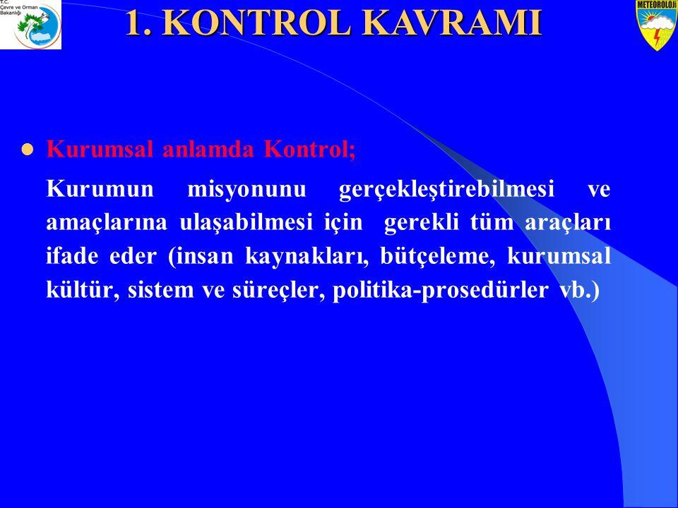 Kurumsal anlamda Kontrol; Kurumun misyonunu gerçekleştirebilmesi ve amaçlarına ulaşabilmesi için gerekli tüm araçları ifade eder (insan kaynakları, bü