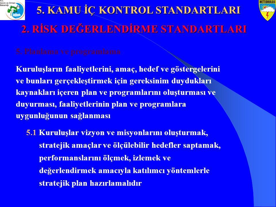 2. RİSK DEĞERLENDİRME STANDARTLARI 5. Planlama ve programlama Kuruluşların faaliyetlerini, amaç, hedef ve göstergelerini ve bunları gerçekleştirmek iç