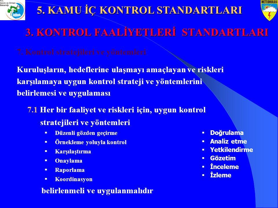 3. KONTROL FAALİYETLERİ STANDARTLARI 7. Kontrol stratejileri ve yöntemleri Kuruluşların, hedeflerine ulaşmayı amaçlayan ve riskleri karşılamaya uygun