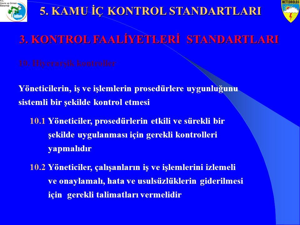 10. Hiyerarşik kontroller Yöneticilerin, iş ve işlemlerin prosedürlere uygunluğunu sistemli bir şekilde kontrol etmesi 10.1 Yöneticiler, prosedürlerin