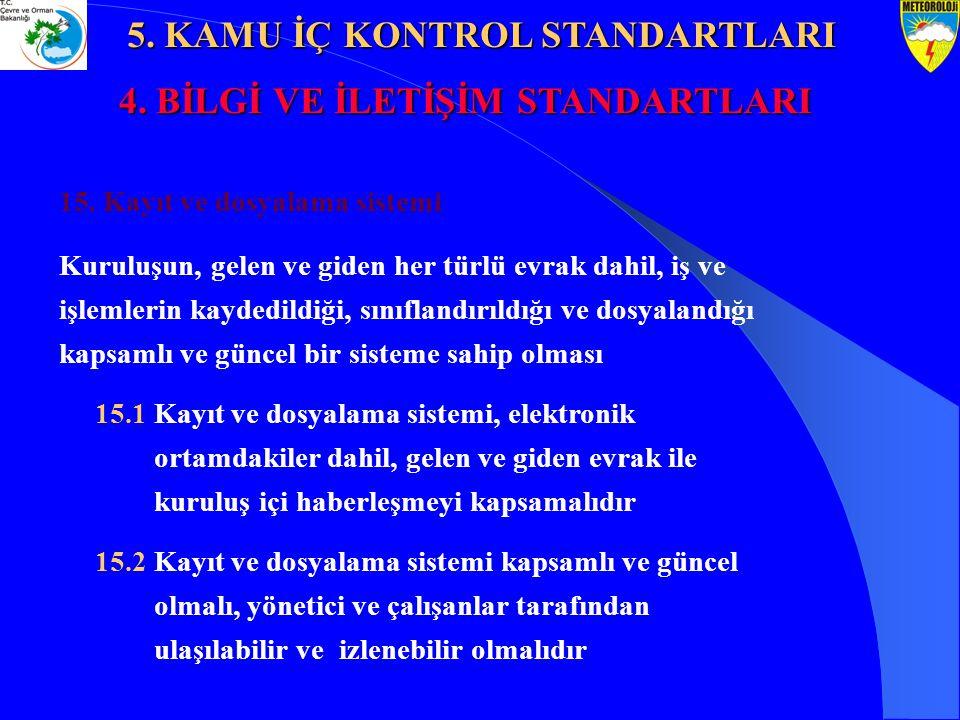 15. Kayıt ve dosyalama sistemi Kuruluşun, gelen ve giden her türlü evrak dahil, iş ve işlemlerin kaydedildiği, sınıflandırıldığı ve dosyalandığı kapsa