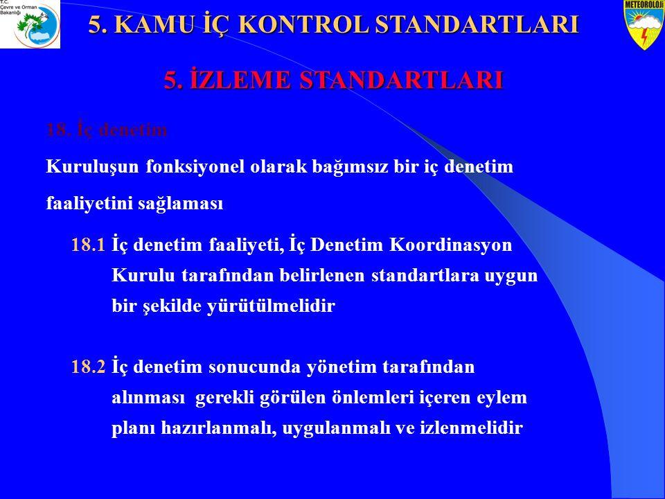 18. İç denetim Kuruluşun fonksiyonel olarak bağımsız bir iç denetim faaliyetini sağlaması 18.1 İç denetim faaliyeti, İç Denetim Koordinasyon Kurulu ta