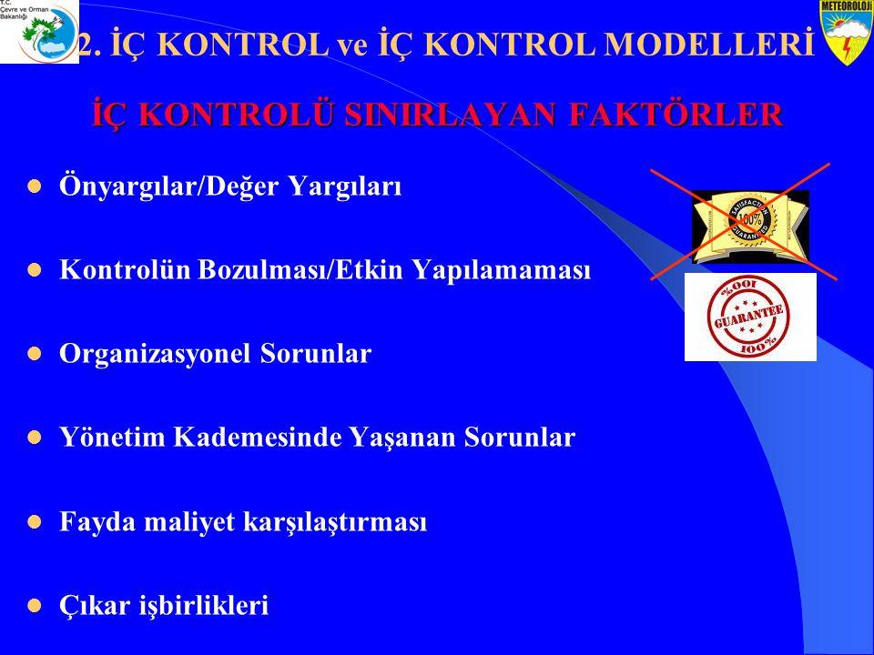 İÇ KONTROLÜ SINIRLAYAN FAKTÖRLER Önyargılar/Değer Yargıları Kontrolün Bozulması/Etkin Yapılamaması Organizasyonel Sorunlar Yönetim Kademesinde Yaşanan