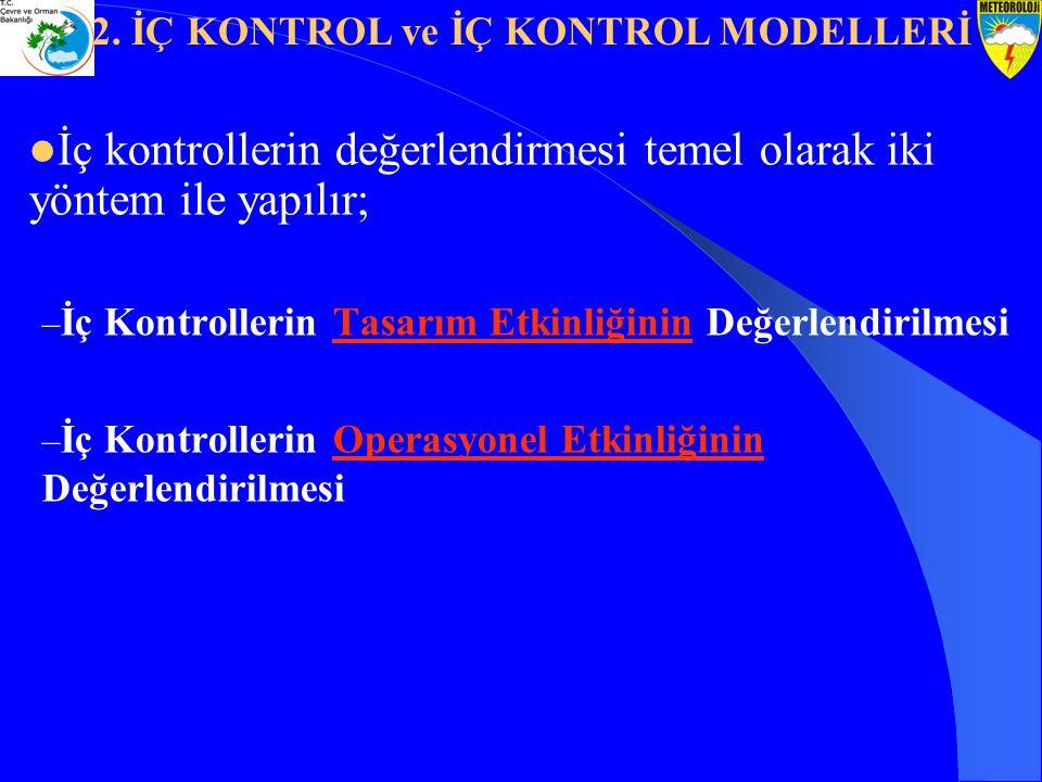 İç kontrollerin değerlendirmesi temel olarak iki yöntem ile yapılır; – İç Kontrollerin Tasarım Etkinliğinin Değerlendirilmesi – İç Kontrollerin Operas