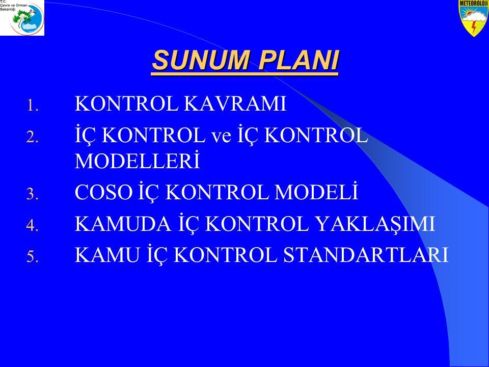 SUNUM PLANI 1. KONTROL KAVRAMI 2. İÇ KONTROL ve İÇ KONTROL MODELLERİ 3. COSO İÇ KONTROL MODELİ 4. KAMUDA İÇ KONTROL YAKLAŞIMI 5. KAMU İÇ KONTROL STAND