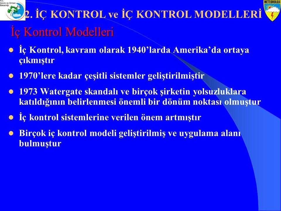 İç Kontrol Modelleri İç Kontrol, kavram olarak 1940'larda Amerika'da ortaya çıkmıştır 1970'lere kadar çeşitli sistemler geliştirilmiştir 1973 Watergat