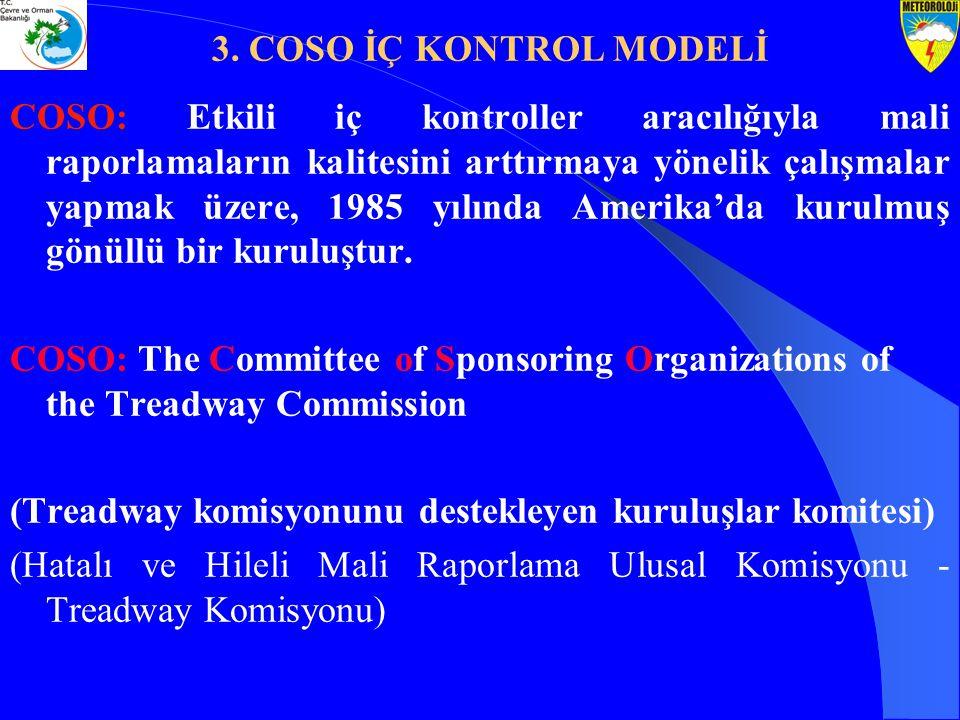 COSO: Etkili iç kontroller aracılığıyla mali raporlamaların kalitesini arttırmaya yönelik çalışmalar yapmak üzere, 1985 yılında Amerika'da kurulmuş gö