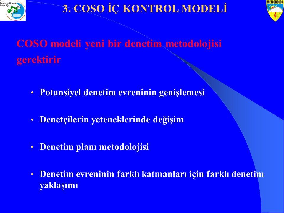 COSO modeli yeni bir denetim metodolojisi gerektirir Potansiyel denetim evreninin genişlemesi Denetçilerin yeteneklerinde değişim Denetim planı metodo