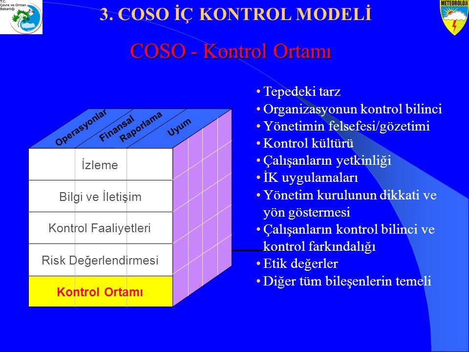 Tepedeki tarz Organizasyonun kontrol bilinci Yönetimin felsefesi/gözetimi Kontrol kültürü Çalışanların yetkinliği İK uygulamaları Yönetim kurulunun di
