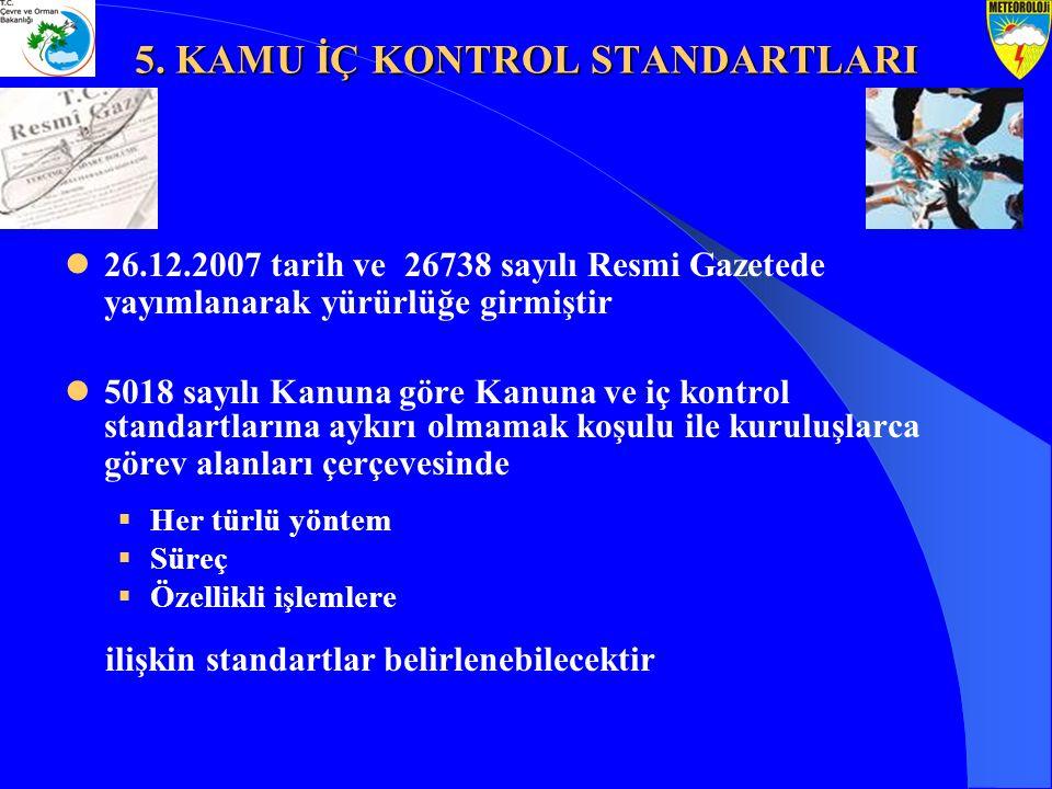 5. KAMU İÇ KONTROL STANDARTLARI 26.12.2007 tarih ve 26738 sayılı Resmi Gazetede yayımlanarak yürürlüğe girmiştir 5018 sayılı Kanuna göre Kanuna ve iç