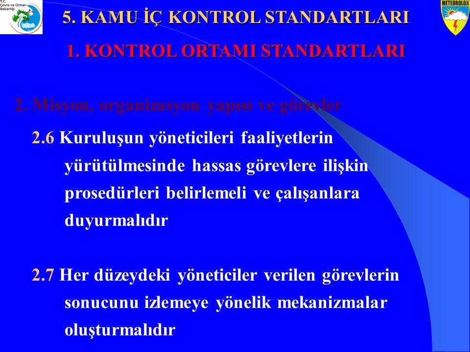 2. Misyon, organizasyon yapısı ve görevler 2.6 Kuruluşun yöneticileri faaliyetlerin yürütülmesinde hassas görevlere ilişkin prosedürleri belirlemeli v