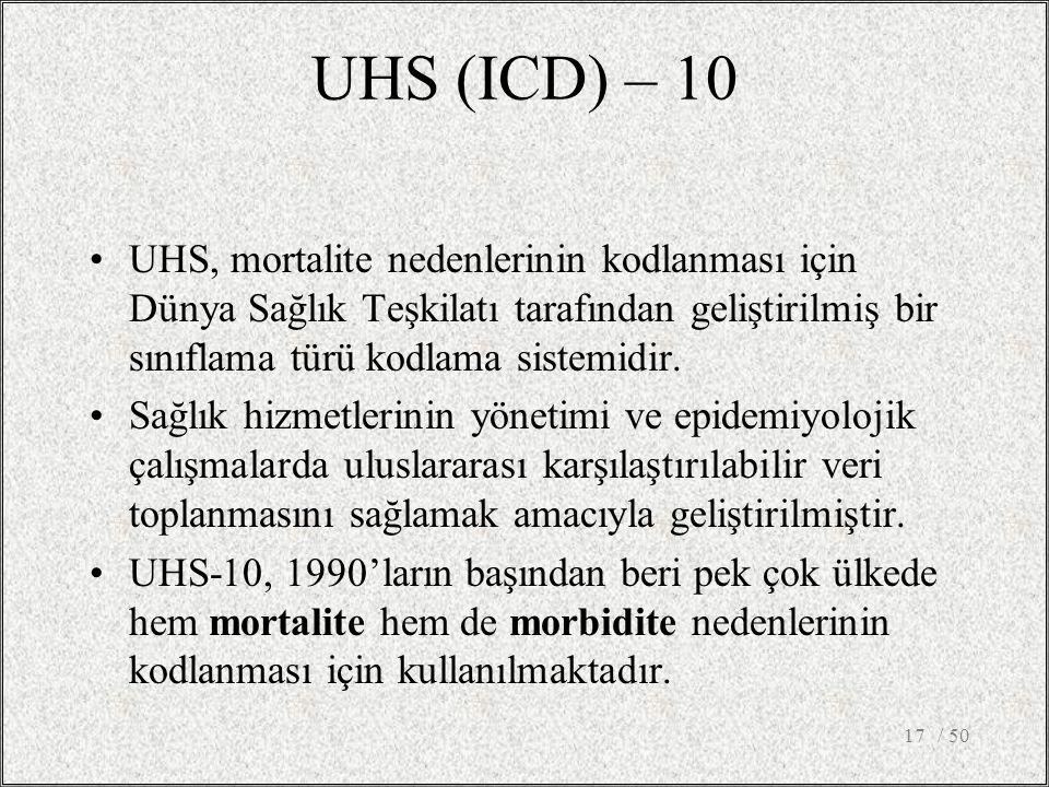 / 5017 UHS, mortalite nedenlerinin kodlanması için Dünya Sağlık Teşkilatı tarafından geliştirilmiş bir sınıflama türü kodlama sistemidir. Sağlık hizme