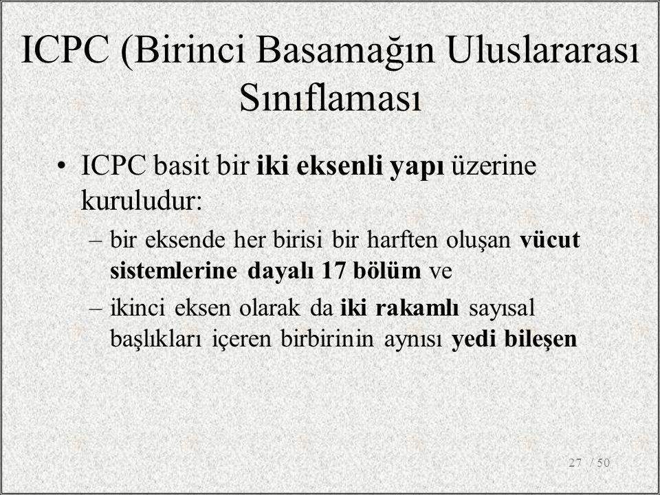 / 5027 ICPC (Birinci Basamağın Uluslararası Sınıflaması ICPC basit bir iki eksenli yapı üzerine kuruludur: –bir eksende her birisi bir harften oluşan