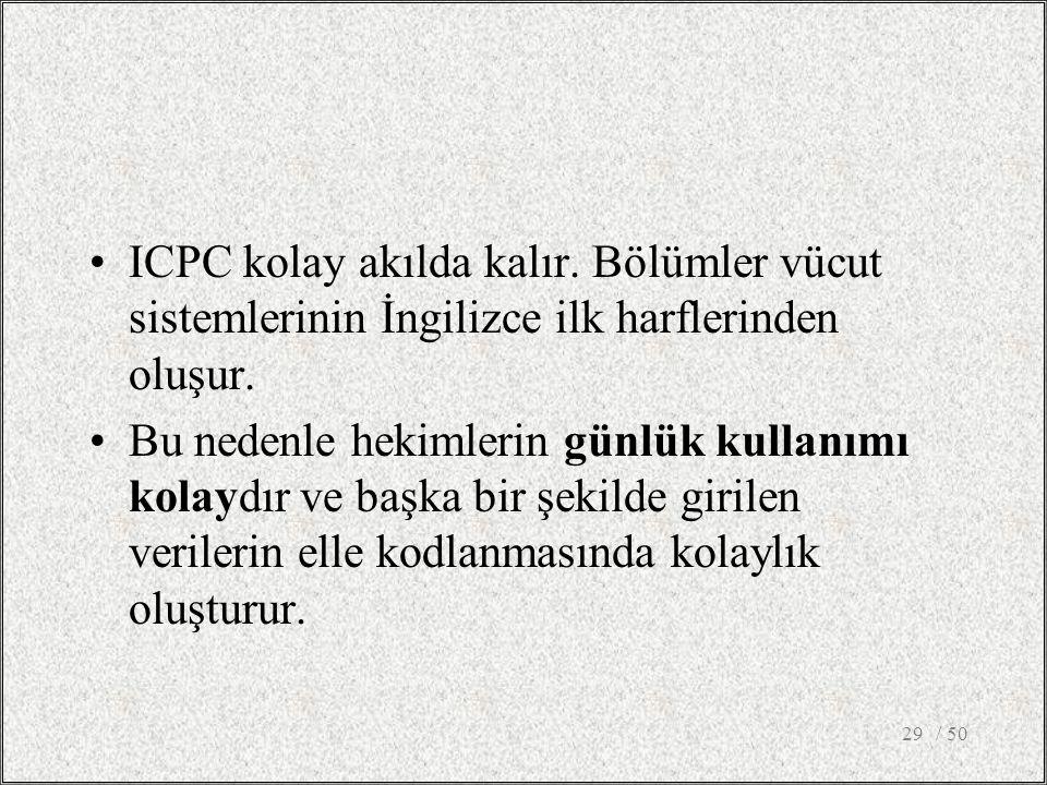 / 5029 ICPC kolay akılda kalır.Bölümler vücut sistemlerinin İngilizce ilk harflerinden oluşur.
