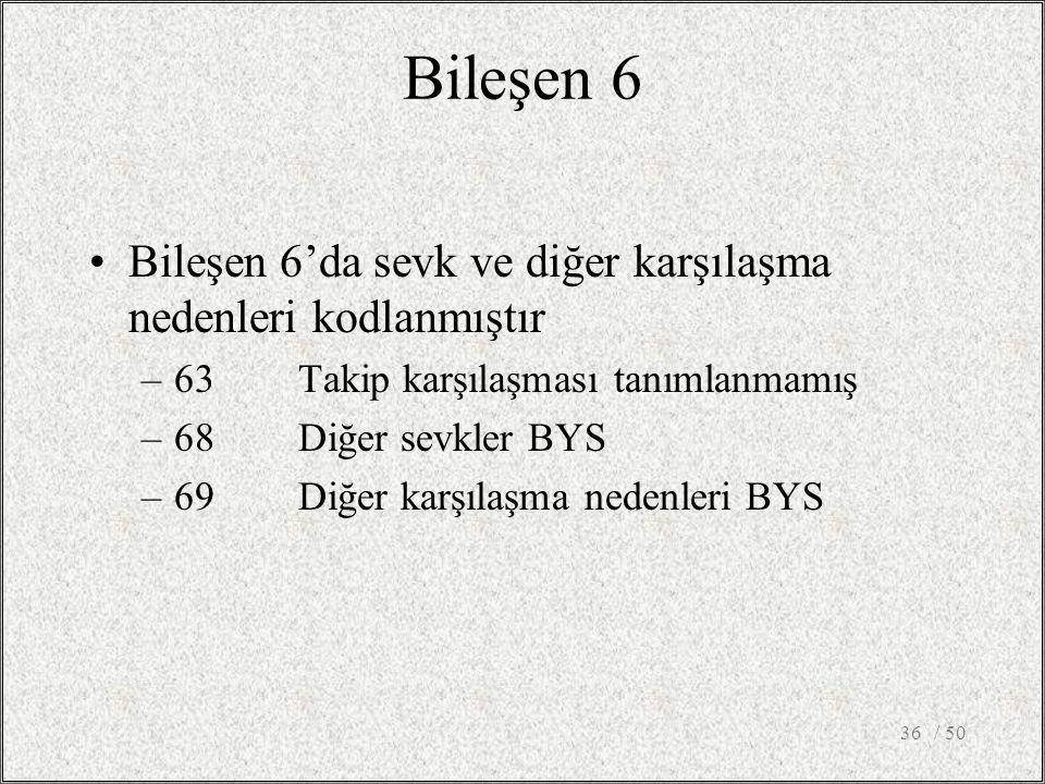 / 5036 Bileşen 6 Bileşen 6'da sevk ve diğer karşılaşma nedenleri kodlanmıştır –63Takip karşılaşması tanımlanmamış –68Diğer sevkler BYS –69Diğer karşıl