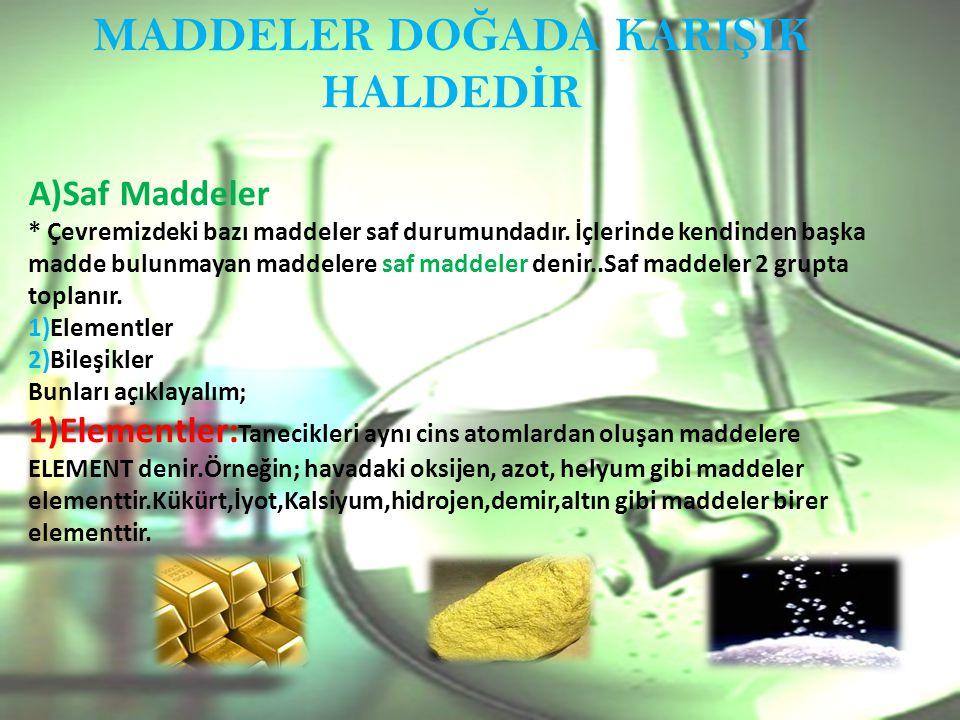 MADDELER DO Ğ ADA KARI Ş IK HALDED İ R A)Saf Maddeler * Çevremizdeki bazı maddeler saf durumundadır.