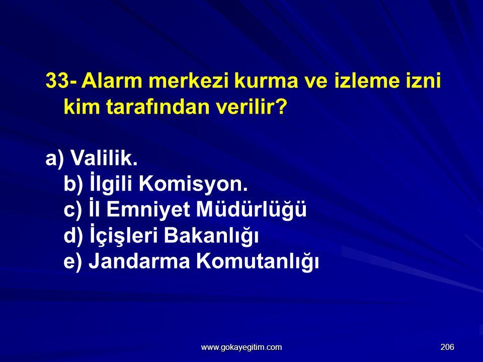 33- Alarm merkezi kurma ve izleme izni kim tarafından verilir.