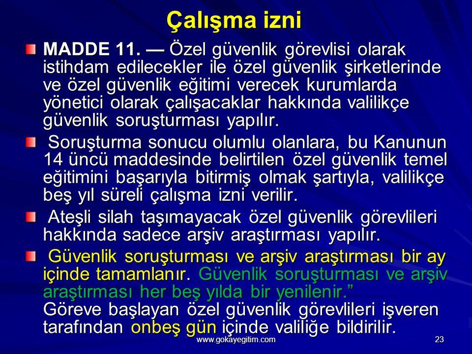 Çalışma izni MADDE 11.
