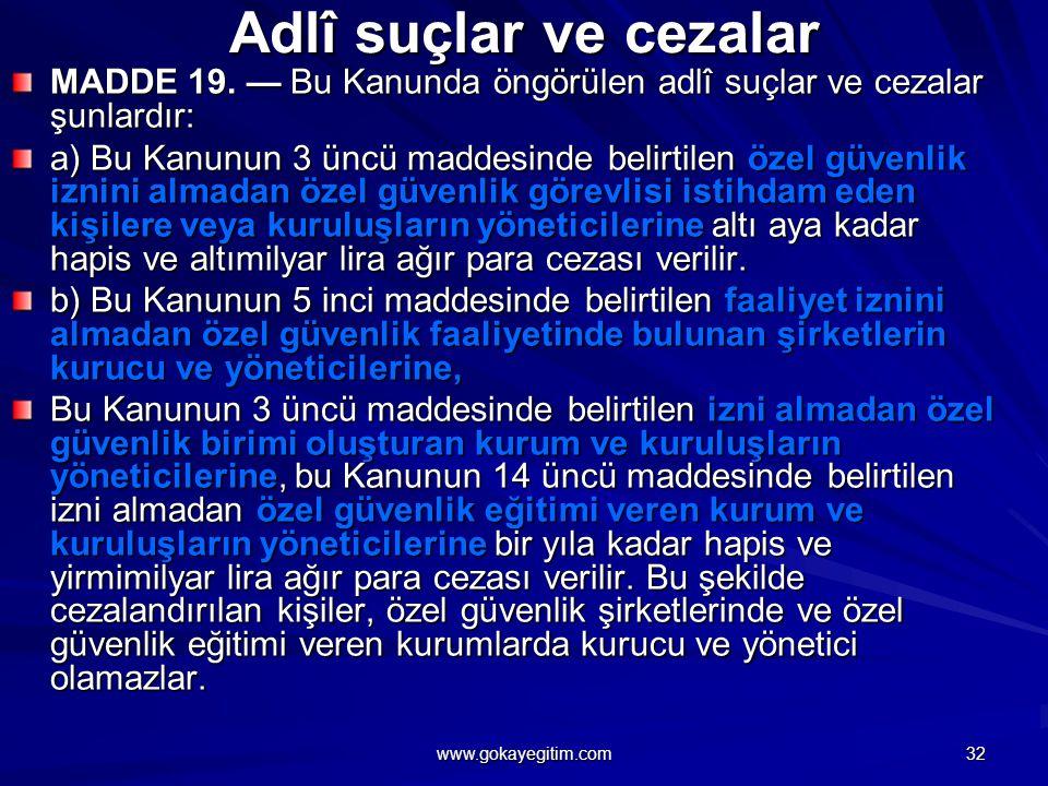 Adlî suçlar ve cezalar MADDE 19.