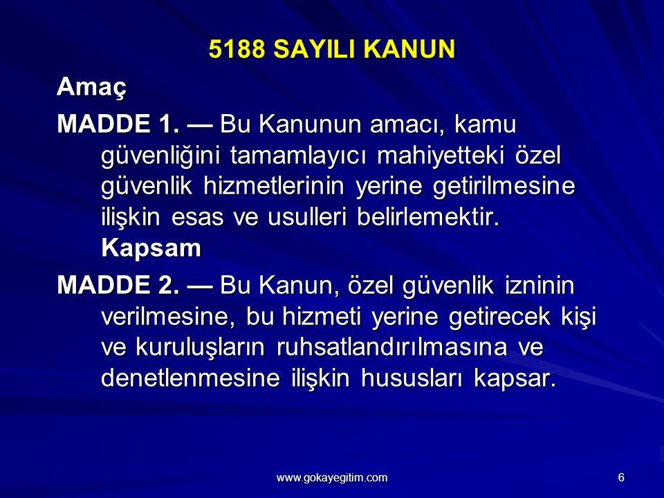 5188 SAYILI KANUN Amaç MADDE 1.