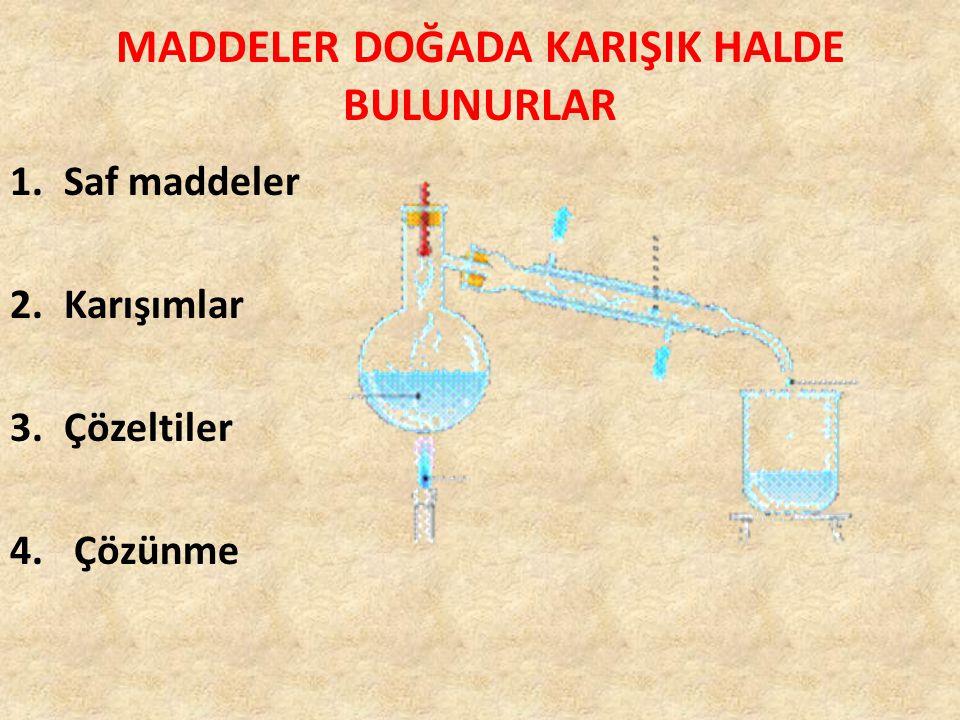 1.SAF MADDELER Tek bir maddeden meydana gelen maddelere saf madde denir.