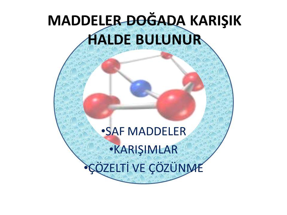 MADDELER DOĞADA KARIŞIK HALDE BULUNUR SAF MADDELER Aynı cins atom yada moleküllerden oluşmuş maddelere saf madde denir.